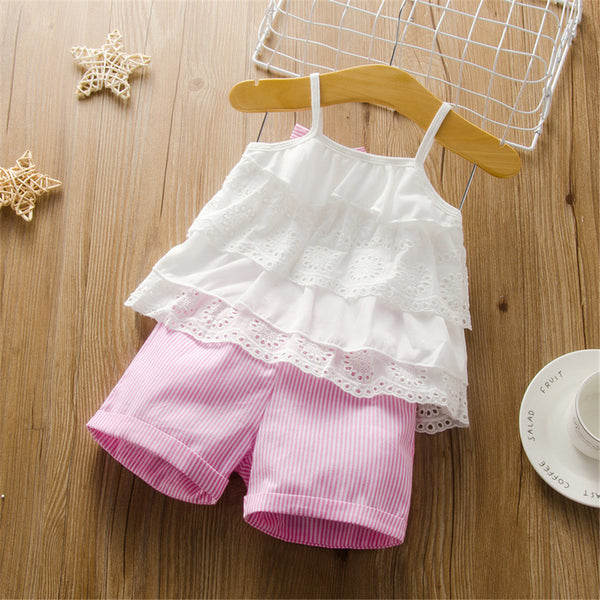 Girls Bow Decor Lace Sling Top & Striped Shorts Toddler Girl Wholesale Clothing
