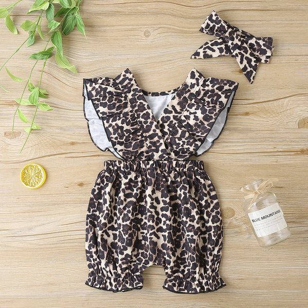 Girls Bow Decor Leopard Printed Short Sleeve Romper & Headband Babywear Wholesale