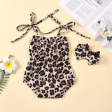 Baby Girls Bow Decor Leopard Printed Suspender Romper & Headband Wholesale Clothing Baby