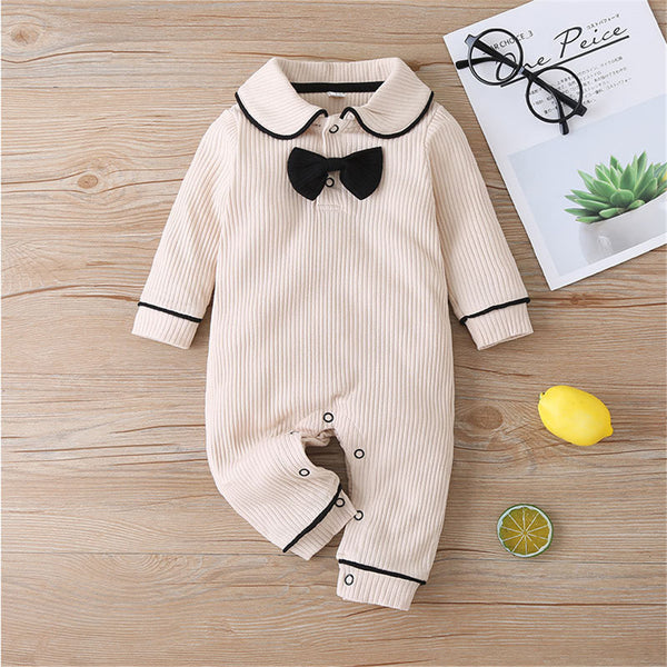 Baby Bow Decor Long-sleeve Casual Rompers
