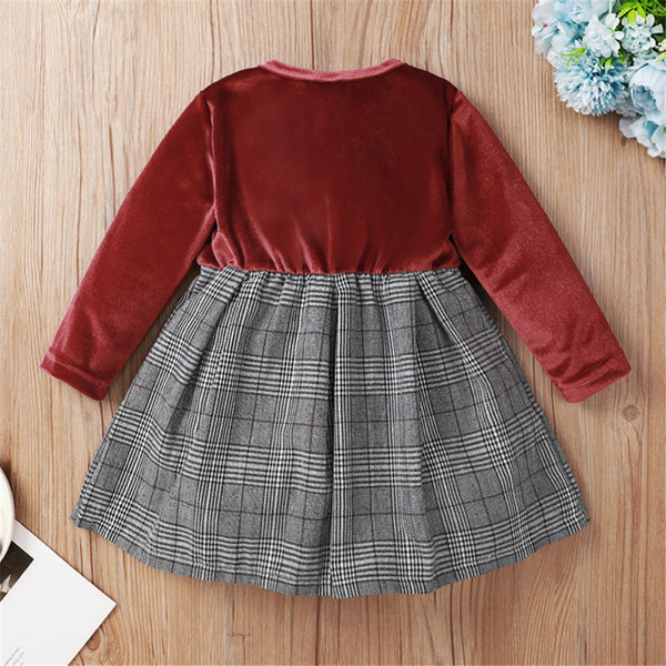 Baby Girls Bow Decor Long Sleeve Plaid Splicing Dress Babywear Wholesale
