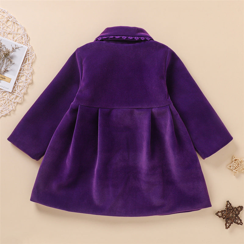 Girls Bow Decor Long Sleeve Solid Color Cardigan Coat Wholesale Little Girl Clothes