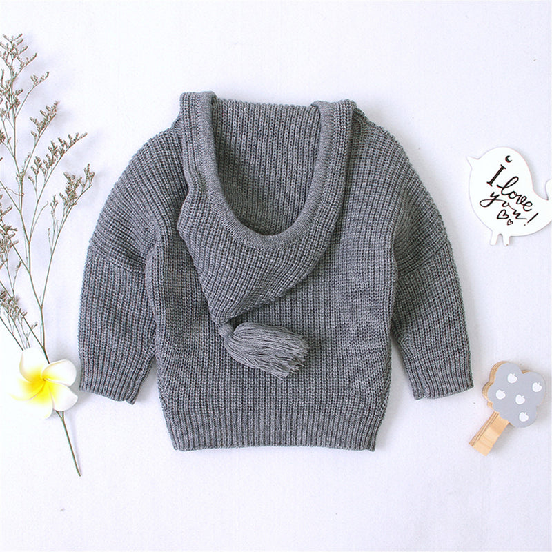 Baby Bow Decor Long Sleeve Solid Hooded Sweaters
