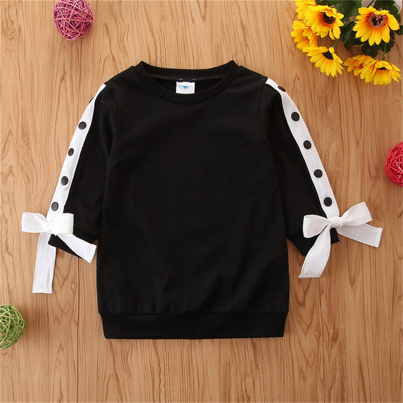 Girls Bow Decor Long Sleeve Solid Tops Wholesale Girl Clothing