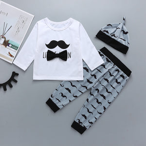 Baby Bow Decor Long Sleeve T-shirt & Beard Print Pants & Hat