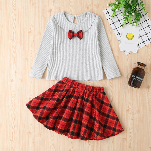 Girls Bow Decor Long Sleeve Top & Plaid Skirt Wholesale Childrens Clothing