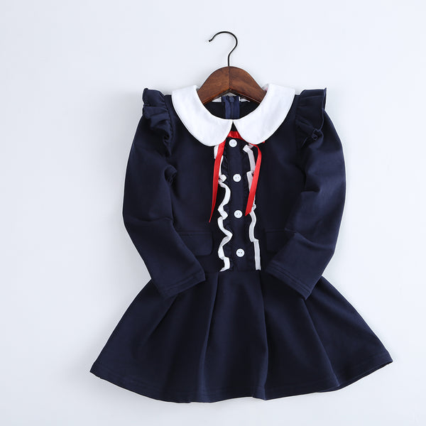 Girls Bow Decor Long Sleeve Zipper Dress