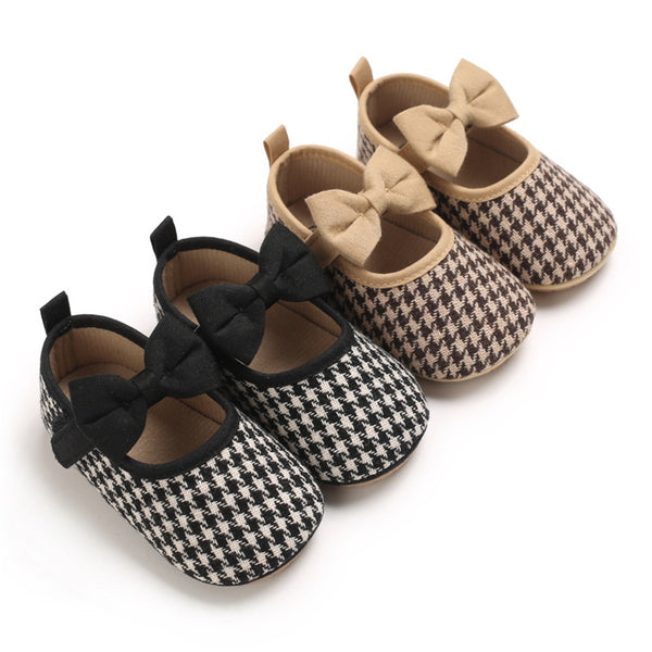 Baby Girls Bow Decor Magic Tape Flat Shoes Baby Shoes Wholesale
