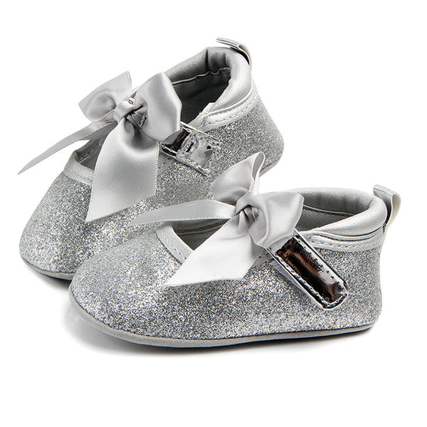 Baby Girls Bow Decor Magic Tape Flats