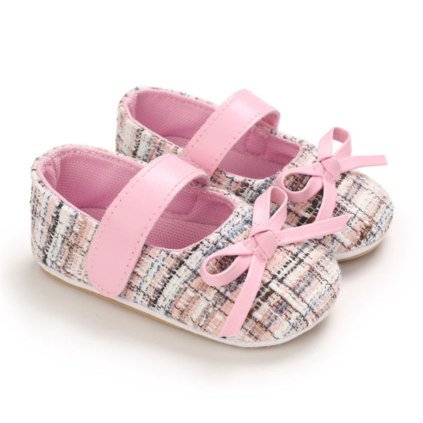 Baby Girls Bow Decor Magic Tape Plaid Shoes Baby Shoes Wholesale