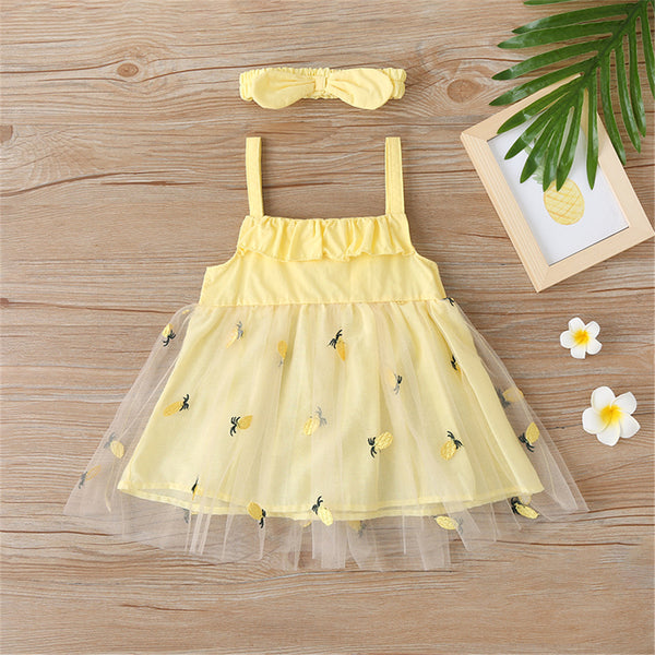 Girls Bow Decor Mesh Princess Suspender Dress & Headband girl wholesale boutique clothing