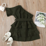 Girls Bow Decor Solid Oblique Shoulder Layered Dress Wholesale Girl Clothing