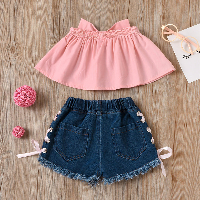 Girls Bow Decor Pink Tube Top & Denim Shorts Wholesale Baby Clothes