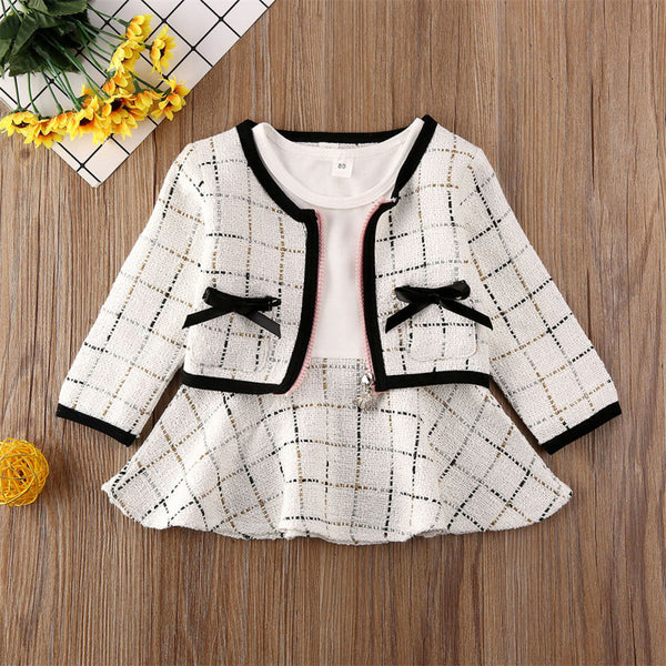 Girls Bow Decor Plaid Long Sleeve Coat & Dress