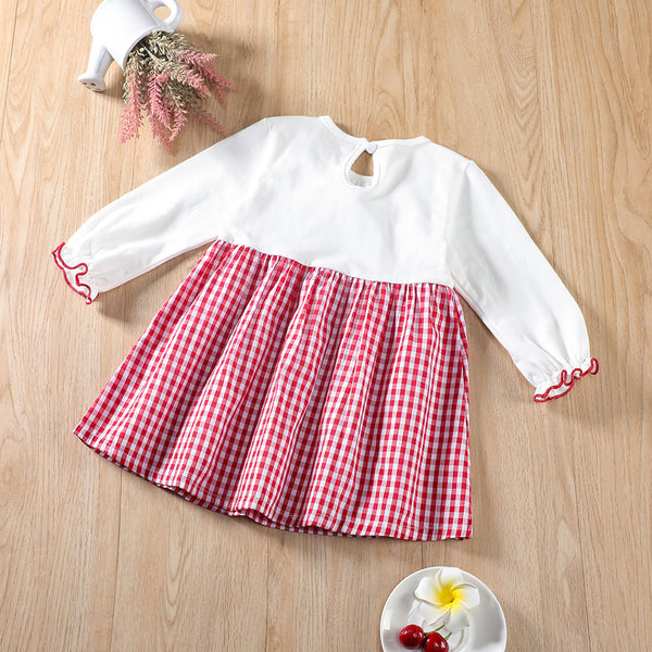 Baby Girls Bow Decor Plaid Long Sleeve Dress Baby Wholesale Clothes