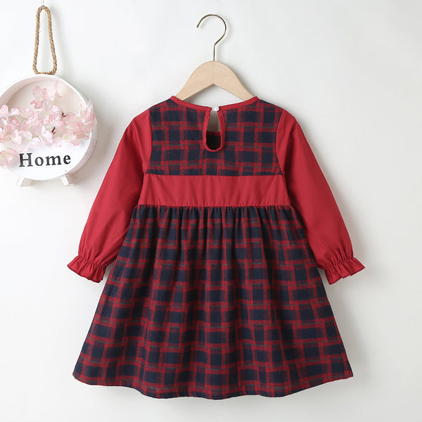 Girls Bow Decor Plaid Long Sleeve Princess Dress Children Clothing Wholesaler