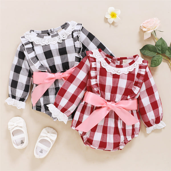 Baby Girls Bow Decor Plaid Long Sleeve Romper Baby Clothes Wholesale Suppliers