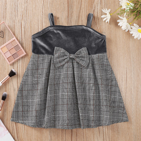Baby Girls Bow Decor Plaid Princess Suspender Dress cheap baby clothes wholesale