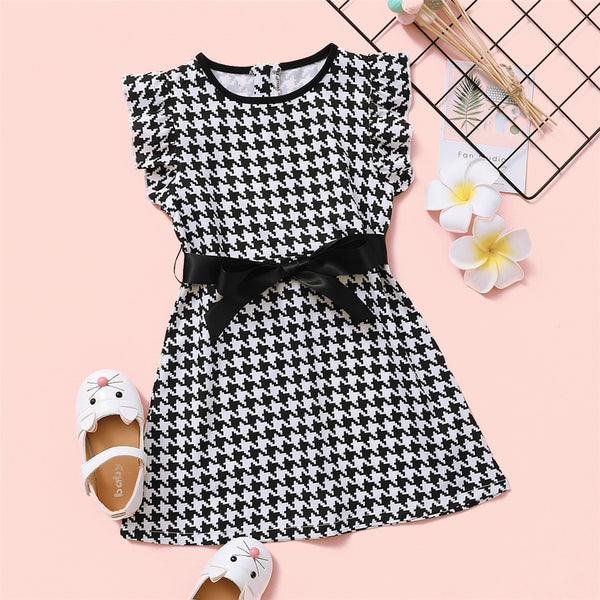 Girls Bow Decor Plaid Sleeveless Dress children wholesale clothing