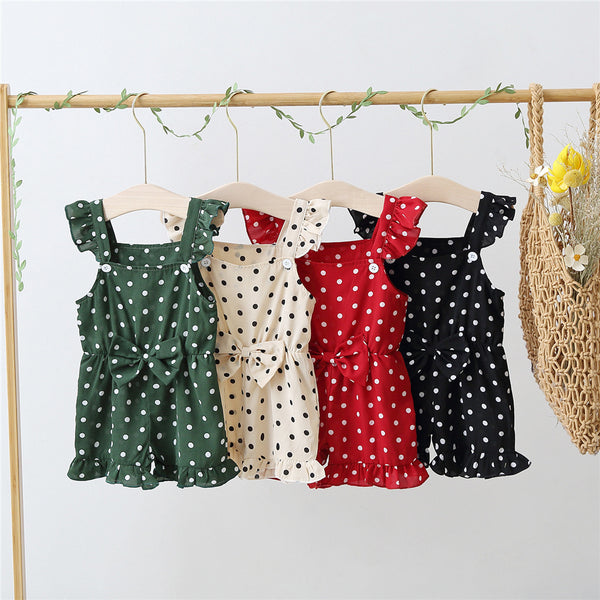 Baby Girls Bow Decor Polka Dot Suspender Jumpsuit baby clothes wholesale usa