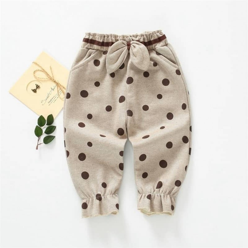 Girls Bow Decor Polka Dot Trousers
