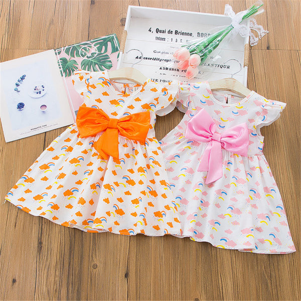 Girls Bow Decor Rainbow Lemon Printed Flying Sleeve Dress Wholesale Childrens Boutique Clothing Suppliers