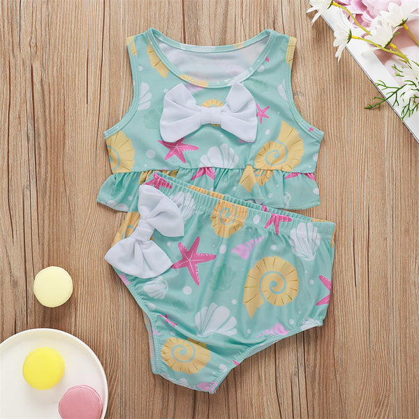 Girls Bow Decor Shell Printed Swimming Suit 2 Piece Swimsuit With Shorts