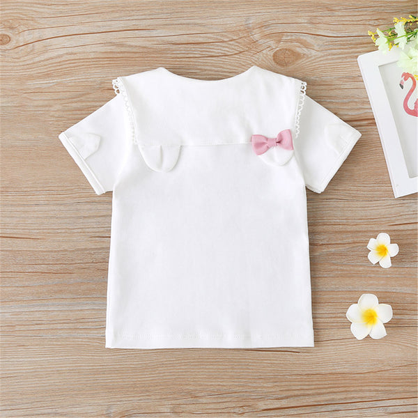 Girls Bow Decor Short Sleeve Doll Collar Letter Top wholesale girls clothes