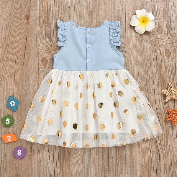 Girls Bow Decor Short Sleeve Polka Dot Mesh Dress wholesale children's boutique clothing for resale