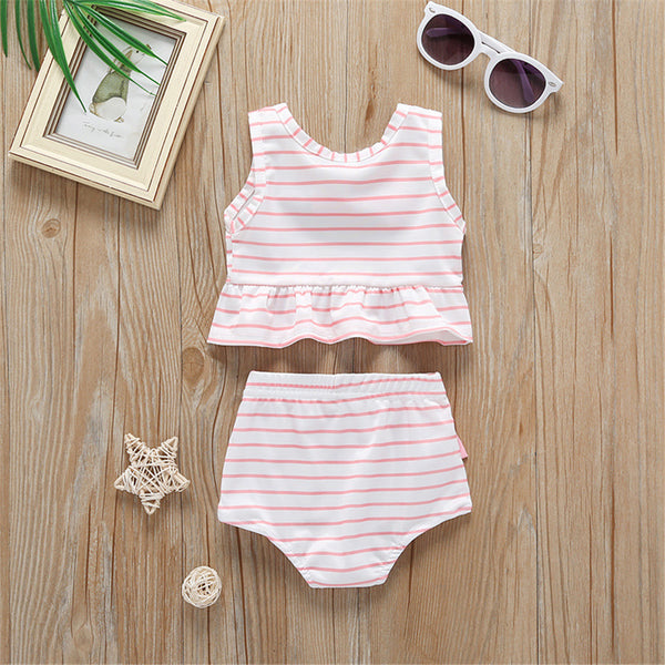 Girls Bow Decor Sleeveless Striped Top & Shorts Wholesale Baby Girl Clothes