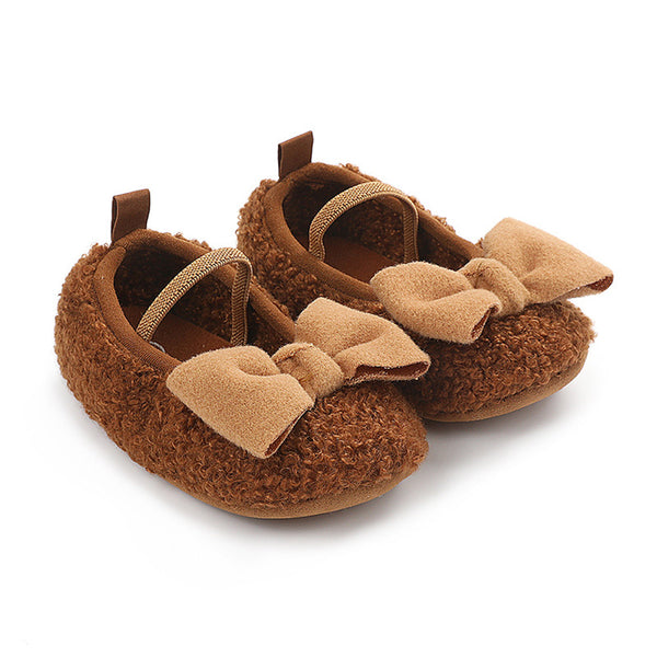 Baby Girls Bow Decor Slip On Flats