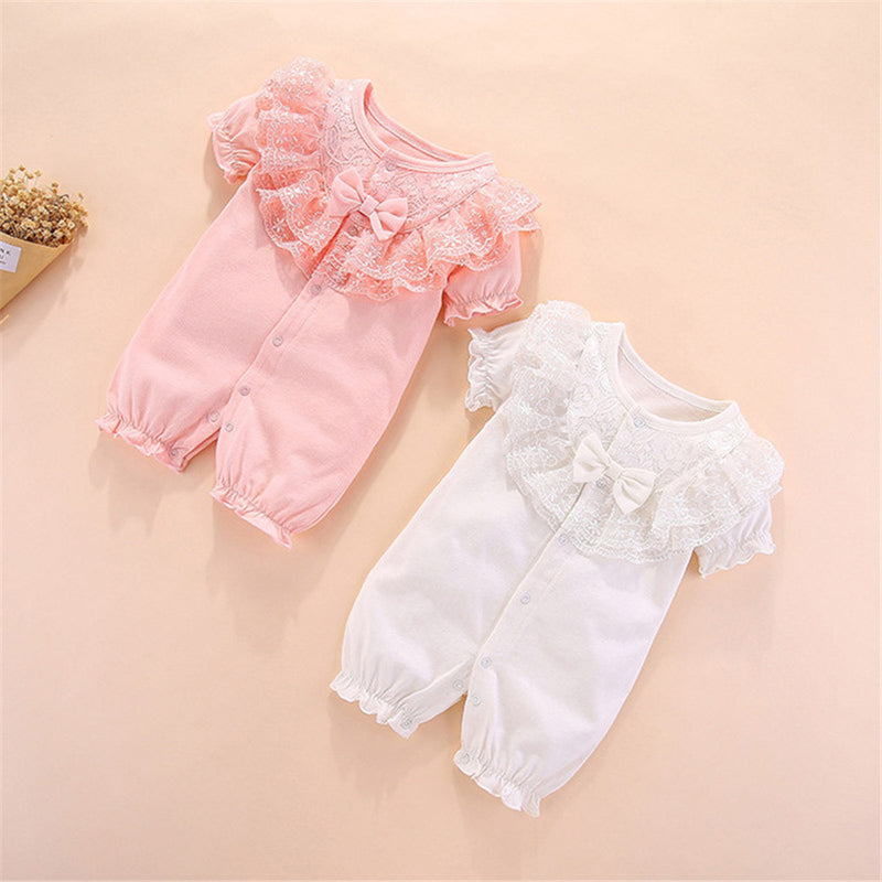 Baby Girls Bow Decor Solid Color Short Sleeve Romper Wholesale Baby Clothes In Bulk