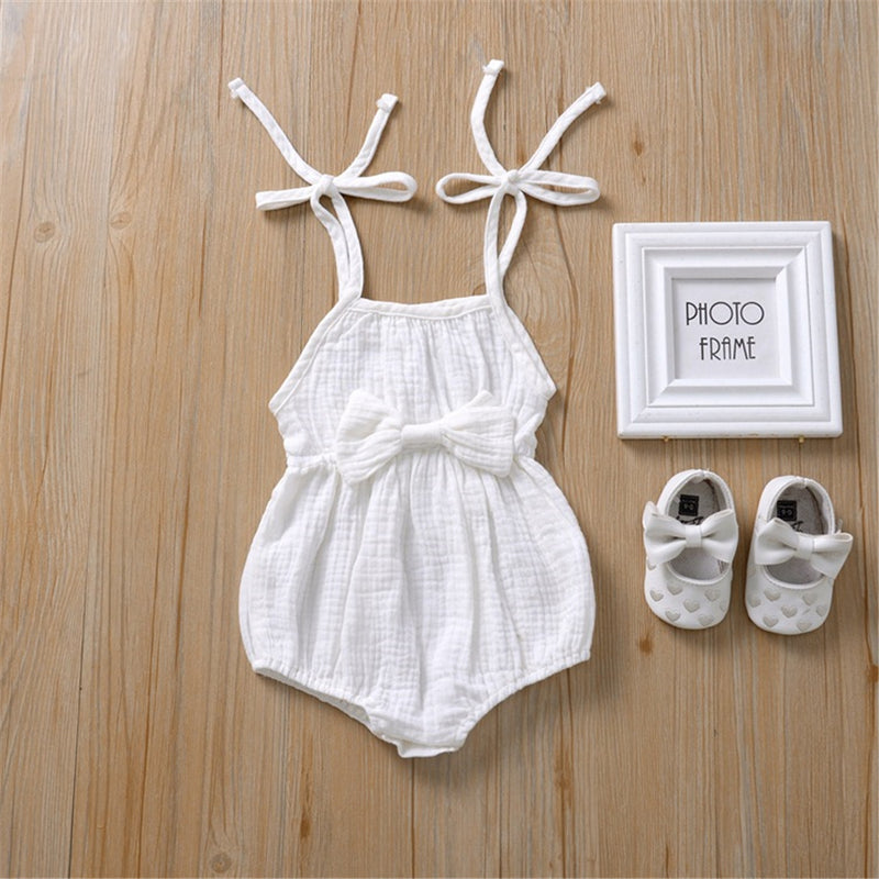 Baby Girls Bow Decor Solid Color Sling Romper baby clothes wholesale usa