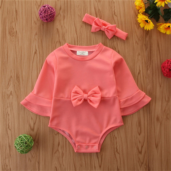 Baby Girl Bow Decor Solid Long Sleeve Romper & Headband Wholesale Baby