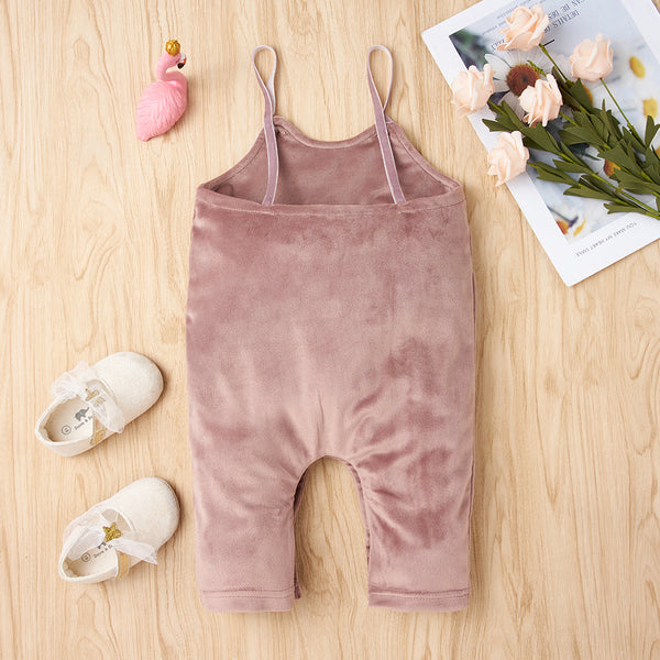 Baby Girls Bow Decor Solid Suspender Romper Wholesale Designer Baby Clothes