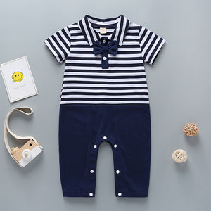 Baby Boys Bow Decor Stripe Short Sleeve Romper