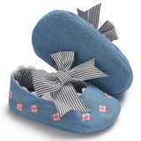 Baby Girls Bow Embroidered Princess Flat Shoes