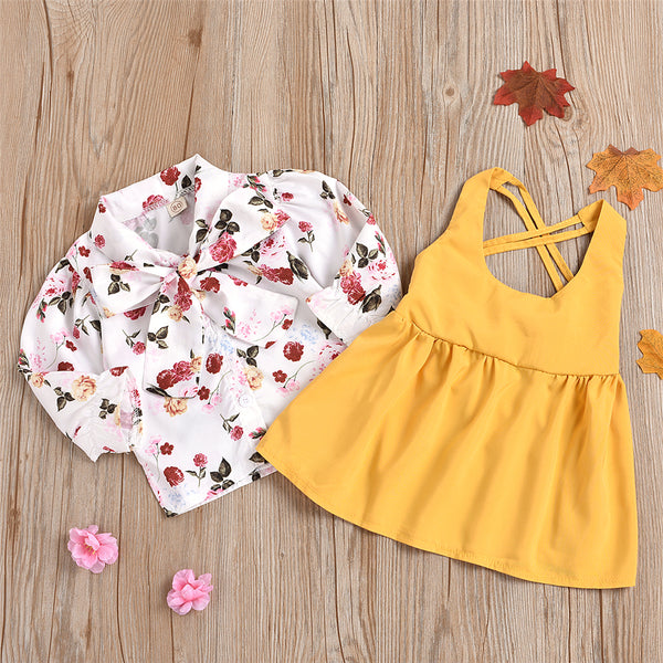 Girls Bow Floral Long Sleeve Blouse & Dress Kids Boutique Wholesale