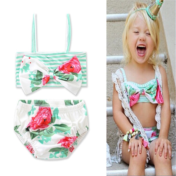 Girls Bow Floral Striped Top & Shorts 2 Piece Swimsuit With Shorts