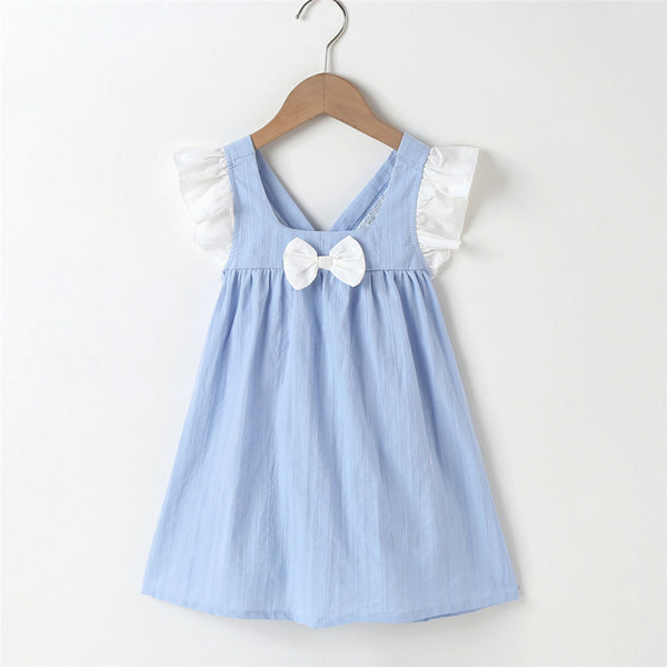 Baby Girl Bow Flying Sleeve Dress cheap baby clothes wholesale