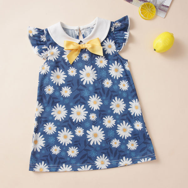 Baby Girls Bow Flying Sleeve Floral Printed Dress Where To Buy Baby Clothes In Bulk
