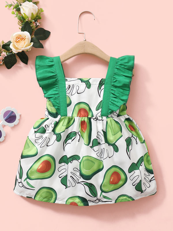 Baby Girls Bow Fruit Avocado Printed Ruffled Dress Baby Clothing In Bulk