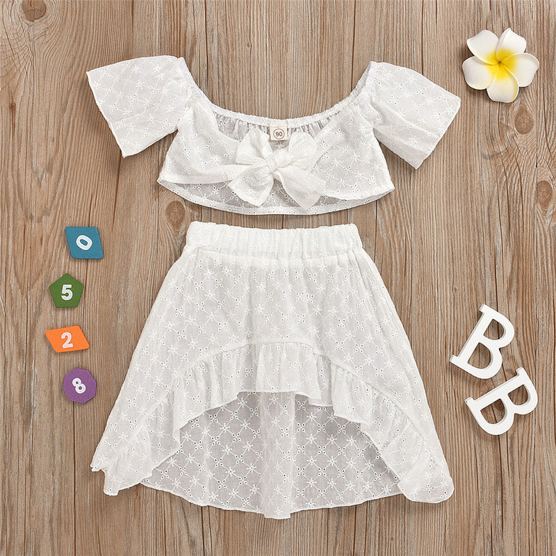 Girls Bow Hollow Out Solid Color Short Sleeve Top & Skirt wholesale kids boutique clothing