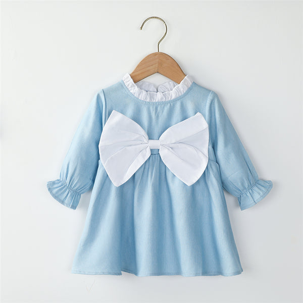 Toddler Girls Bow Long Sleeve Blue Casual Dress Girls Clothing Wholesalers