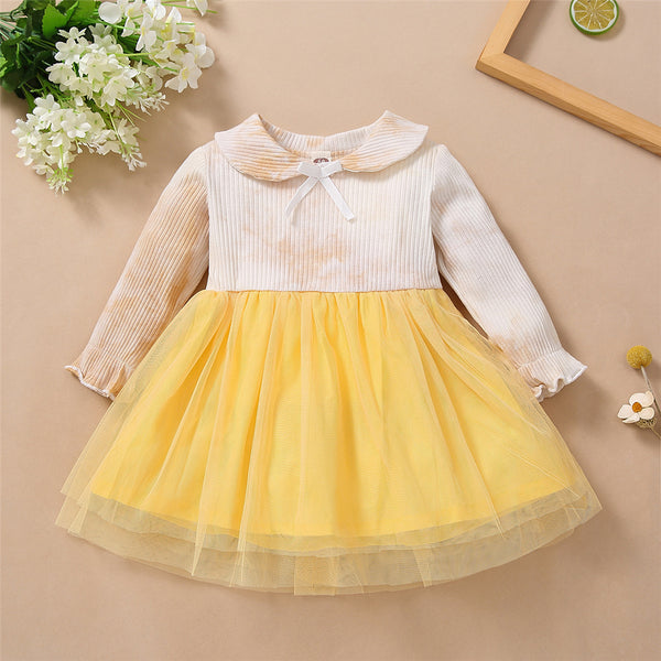 Toddler Girls Bow Long Sleeve Tie Dye Mesh Princess Wholesale Girl Dresses