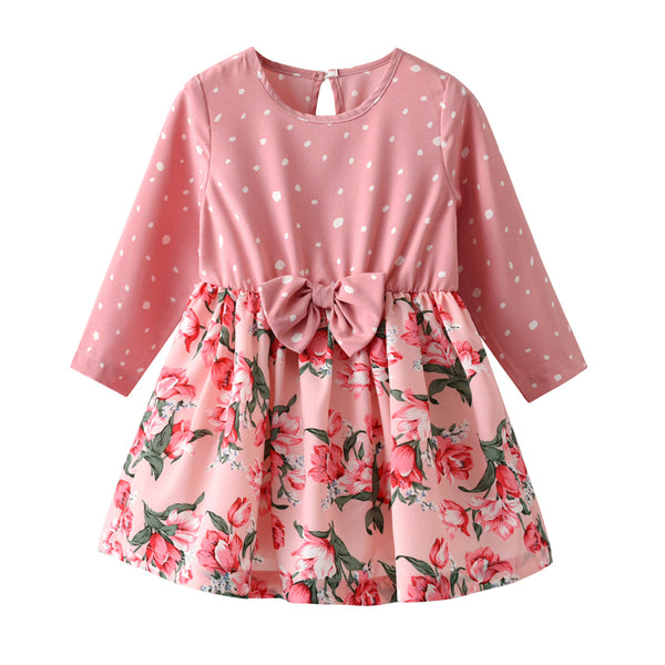 Toddler Girls Bow Polka Dot Floral Long Sleeve Girl Dress Wholesale