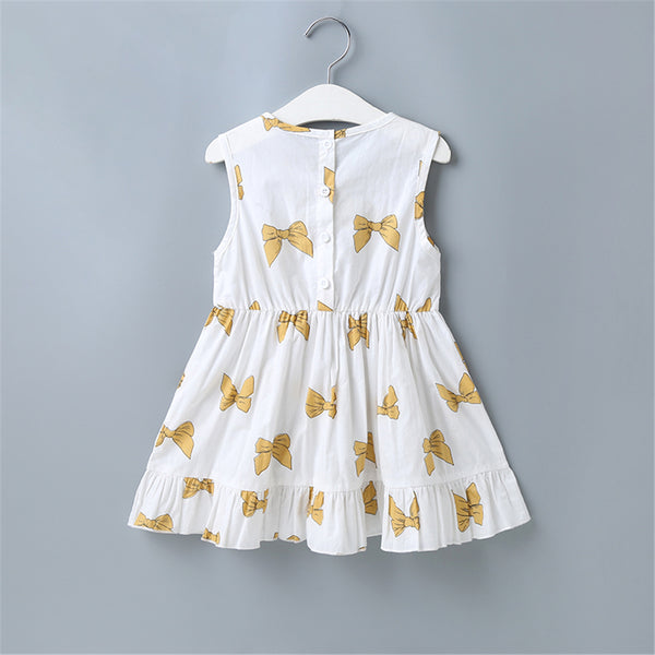 Girls Bow Printed Sleeveless Cotton Dress Wholesale Little Girls Clothes