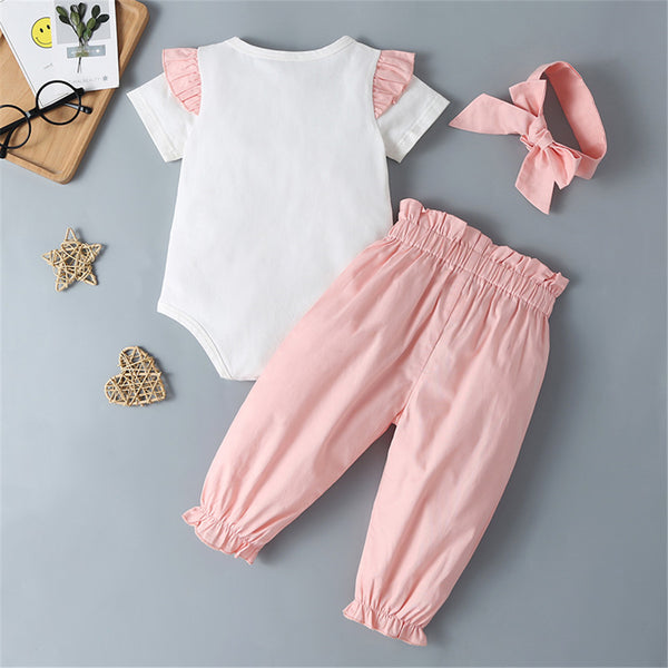 Baby Girls Bow Short Sleeve Romper & Solid Pants & Headband Wholesale Baby Clothes