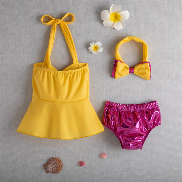 Girls Bow Sling Top & Shorts & Shorts & Headband Swimsuit Toddler 2 Piece Swimsuit