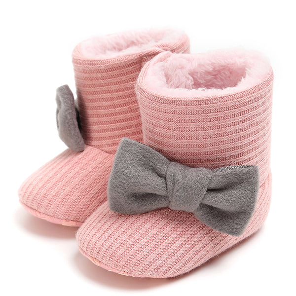 Baby Girls Bow Slip On Fur Warm Boots Wholesale